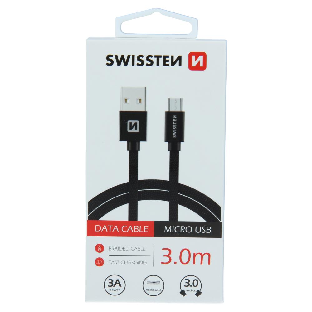 DATOVÝ KABEL SWISSTEN TEXTILE USB / MICRO USB 3,0 M ČERNÝ