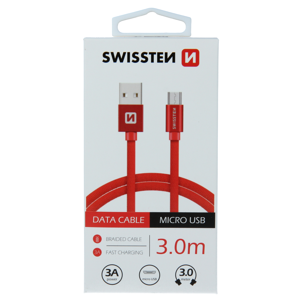 DATOVÝ KABEL SWISSTEN TEXTILE USB / MICRO USB 3,0 M ČERVENÝ