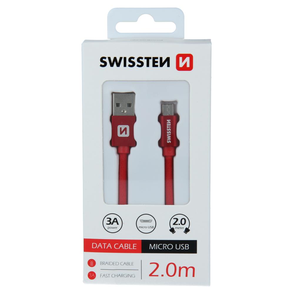 DATOVÝ KABEL SWISSTEN TEXTILE USB / MICRO USB 2,0 M ČERVENÝ