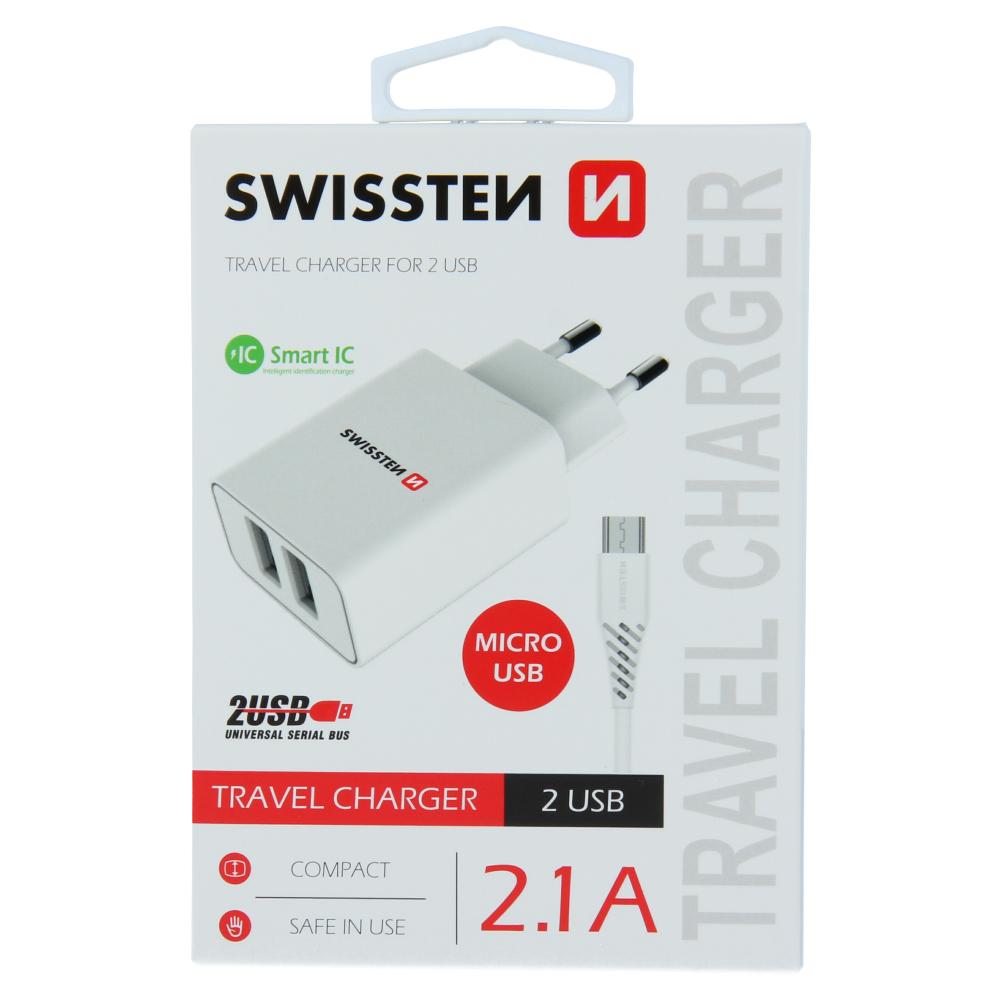 SWISSTEN SÍŤOVÝ ADAPTÉR SMART IC 2x USB 2,1A POWER + DATOVÝ KABEL USB / MICRO USB 1,2 M BÍLÝ