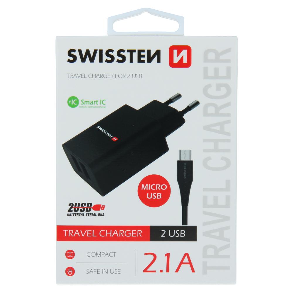 SWISSTEN SÍŤOVÝ ADAPTÉR SMART IC 2x USB 2,1A POWER + DATOVÝ KABEL USB / MICRO USB 1,2 M ČERNÝ
