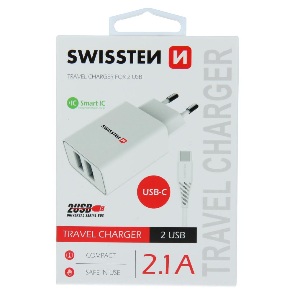 SWISSTEN SÍŤOVÝ ADAPTÉR SMART IC 2x USB 2,1A POWER + DATOVÝ KABEL USB / TYPE C 1,2 M BÍLÝ