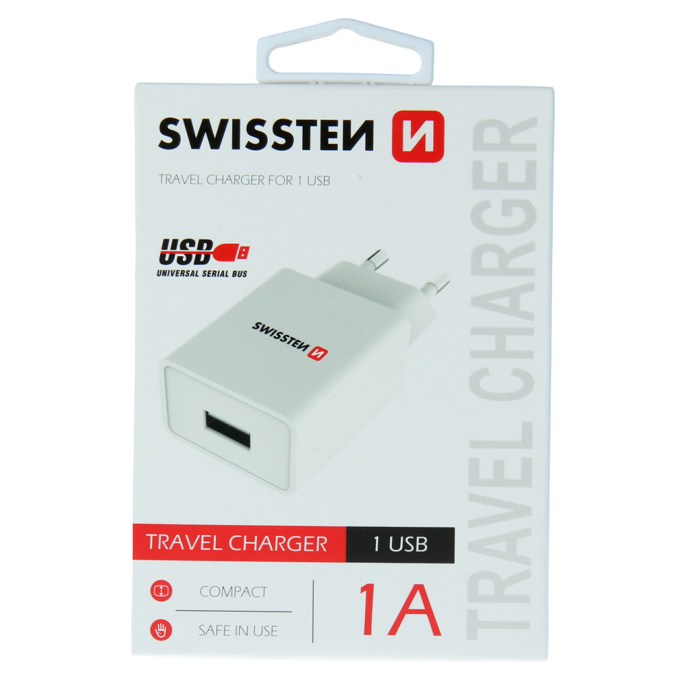 SWISSTEN SÍŤOVÝ ADAPTÉR SMART IC 1x USB 1A POWER BÍLÝ