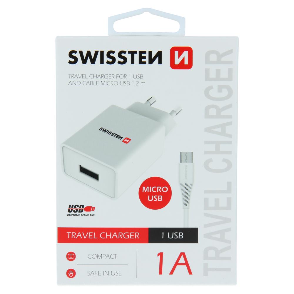 SWISSTEN SÍŤOVÝ ADAPTÉR SMART IC 1x USB 1A POWER + DATOVÝ KABEL USB / MICRO USB 1,2 M BÍLÝ
