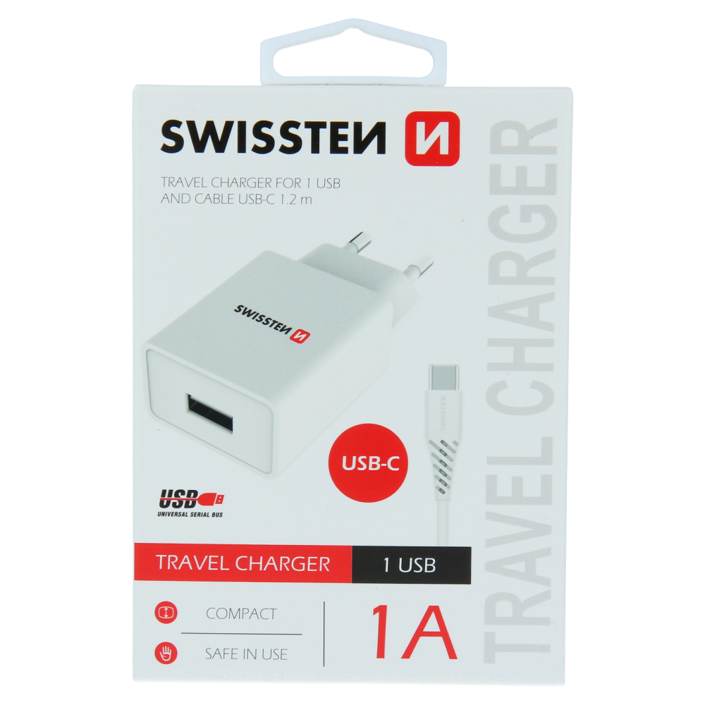 SWISSTEN SÍŤOVÝ ADAPTÉR SMART IC 1x USB 1A POWER + DATOVÝ KABEL USB / TYPE C 1,2 M BÍLÝ