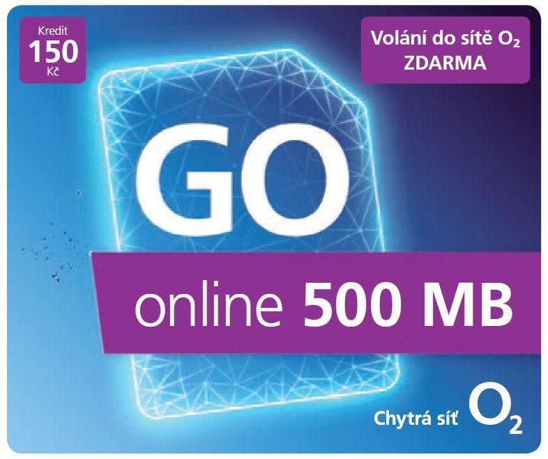 O2 GO SIM KARTA - kredit 150,- Kč Tarif ONLINE 500MB + 5GB ZDARMA