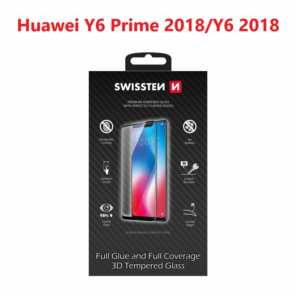 SKLO SWISSTEN ULTRA DURABLE 3D FULL GLUE GLASS HUAWEI Y6 PRIME 2018/Y6 2018 ČERNÉ 8595217457577