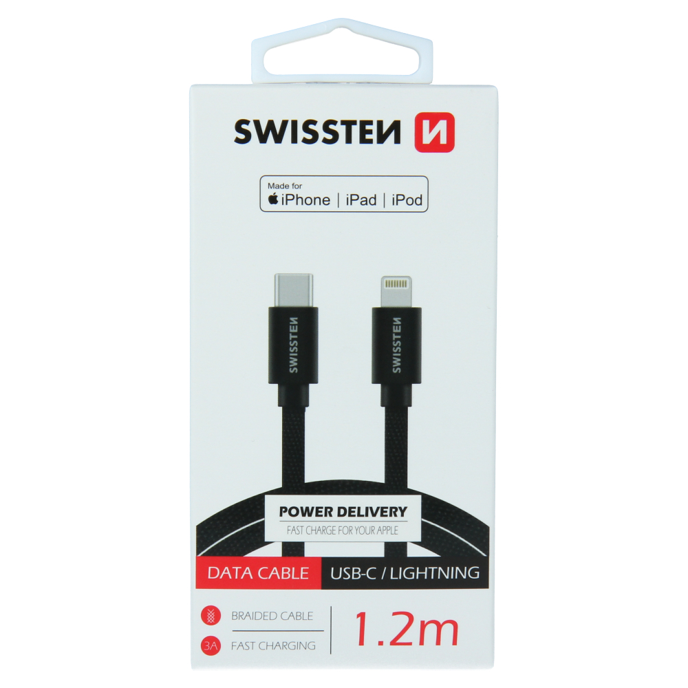 DATOVÝ KABEL SWISSTEN TEXTILE USB-C / LIGHTNING MFi 1,2 M ČERNÝ