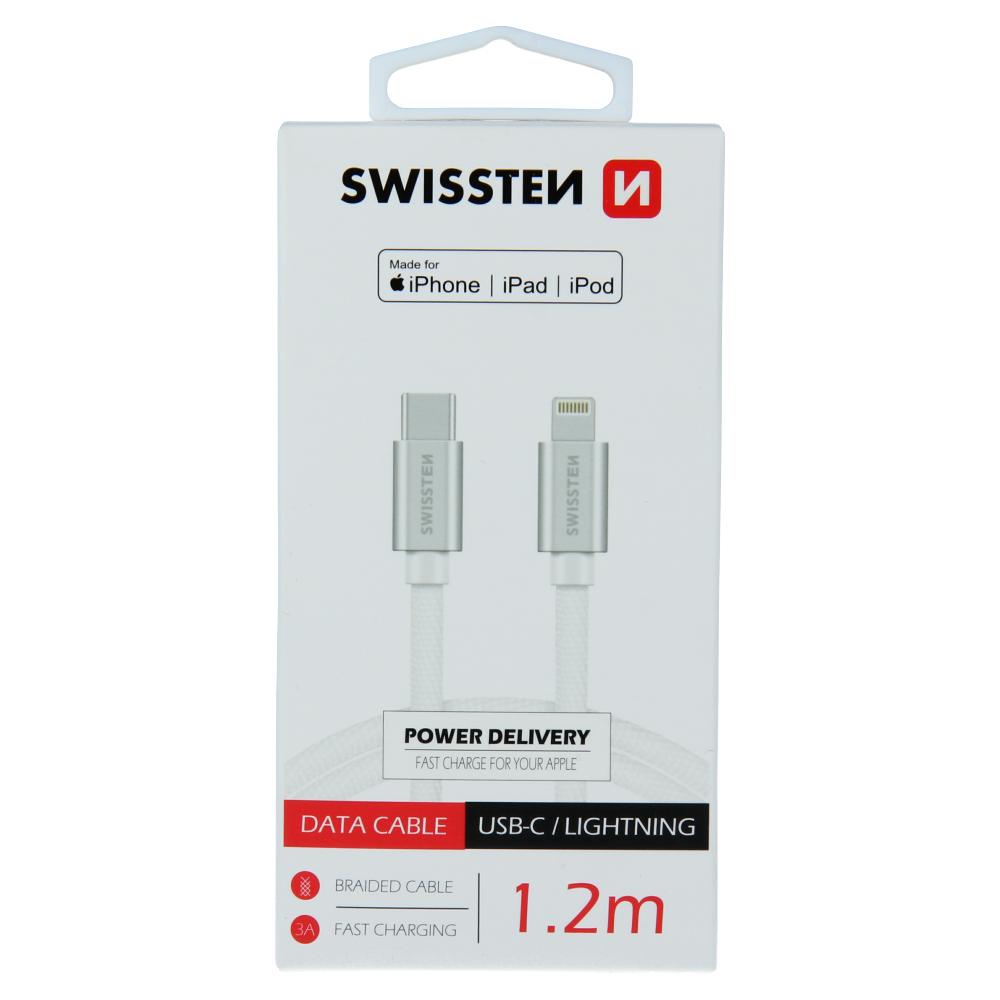 DATOVÝ KABEL SWISSTEN TEXTILE USB-C / LIGHTNING MFi 1,2 M STŘÍBRNÝ