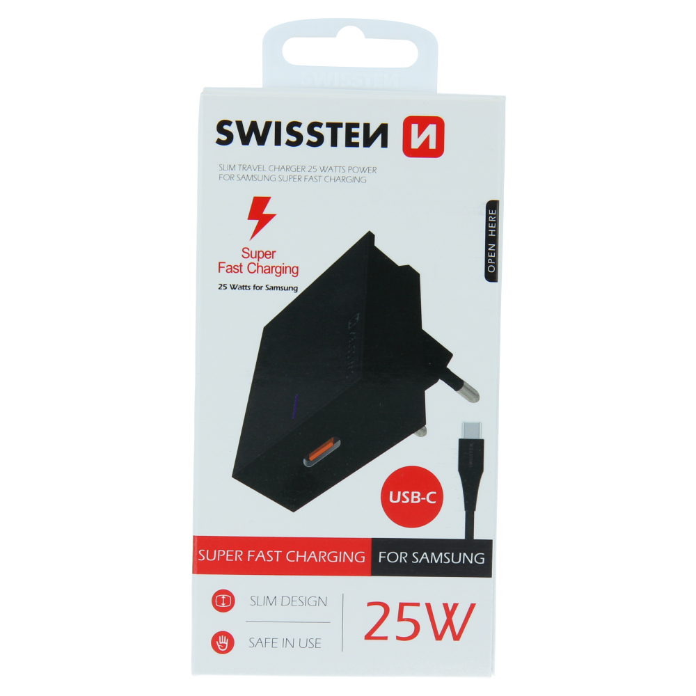 SWISSTEN SÍŤOVÝ ADAPTÉR PRO SAMSUNG SUPER FAST CHARGING 25W + DATOVÝ KABEL USB-C/USB-C 1,2 M ČERNÝ