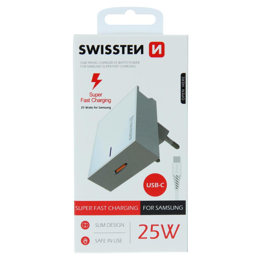 SWISSTEN SÍŤOVÝ ADAPTÉR PRO SAMSUNG SUPER FAST CHARGING 25W + DATOVÝ KABEL USB-C/USB-C 1,2 M BÍLÝ