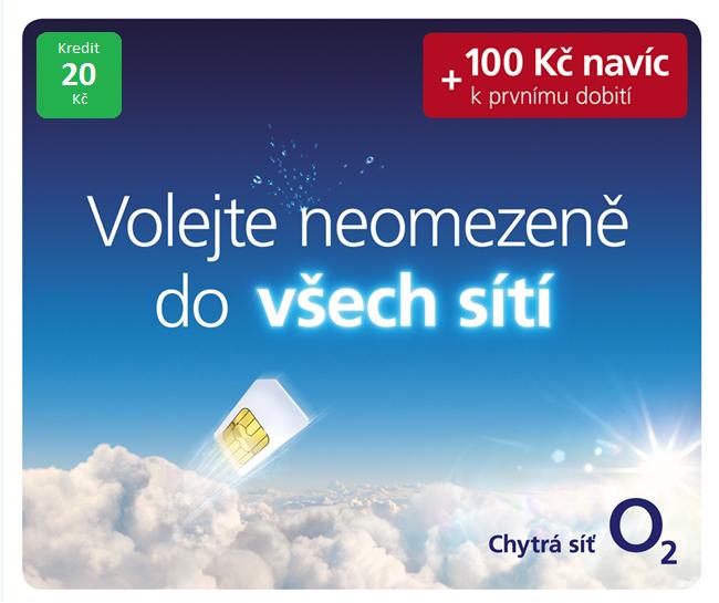 O2 GO SIM KARTA - kredit 20,- Kč Tarif ZDARMA volání do sítě O2