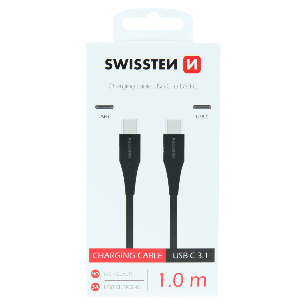 DATOVÝ KABEL SWISSTEN USB-C / USB-C 1,0 M ČERNÝ