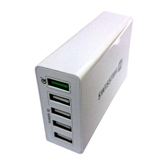 SWISSTEN SÍŤOVÝ ADAPTÉR QUALCOMM 3.0 QUICK CHARGE + SMART IC 5x USB 50W POWER BÍLÝ