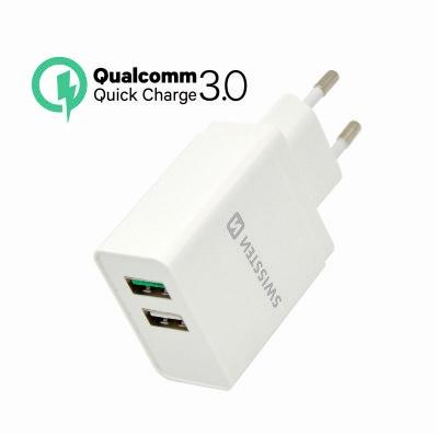 SWISSTEN SÍŤOVÝ ADAPTÉR QUALCOMM 3.0 QUICK CHARGE + SMART IC 2x USB 30W POWER BÍLÝ