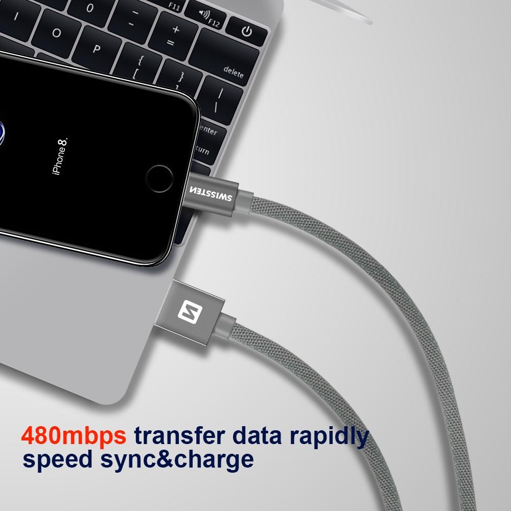 DATOVÝ KABEL SWISSTEN TEXTILE USB / LIGHTNING MFi 2,0 M ČERNÝ