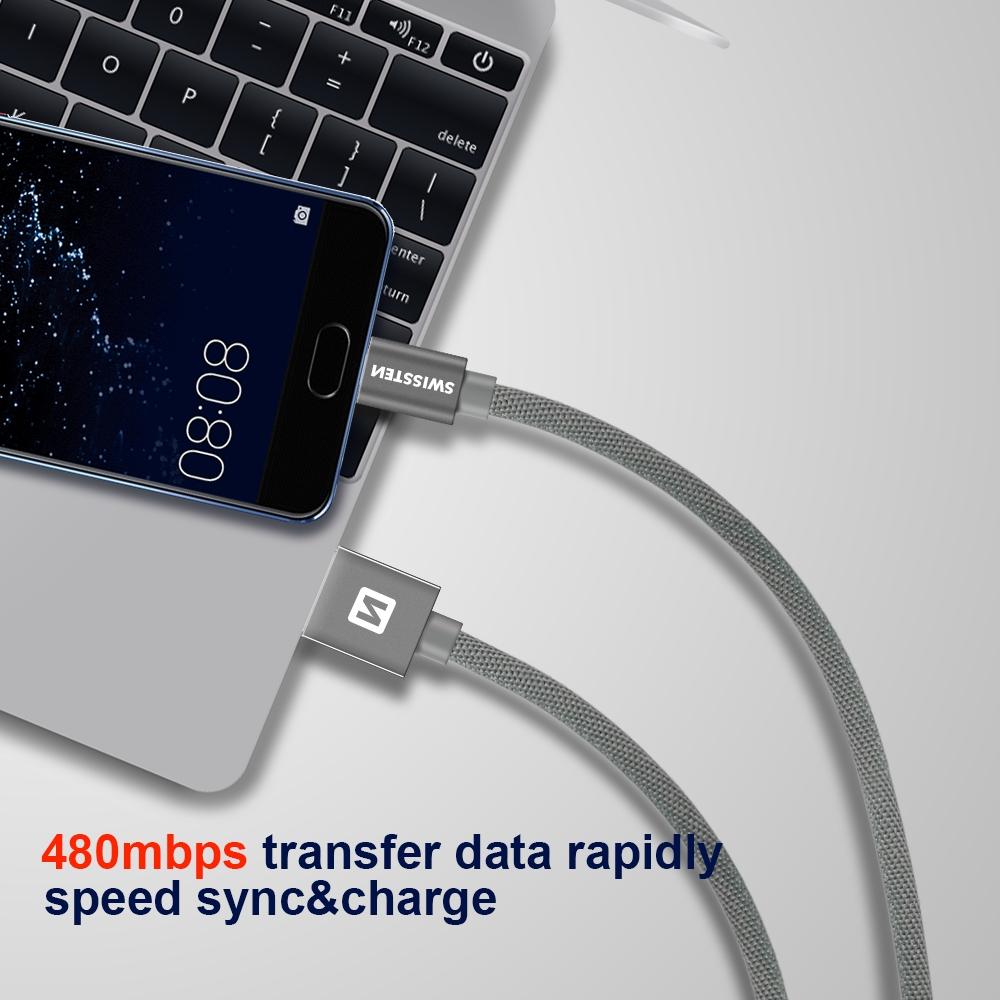 DATOVÝ KABEL SWISSTEN TEXTILE USB / MICRO USB 2,0 M ZLATÝ