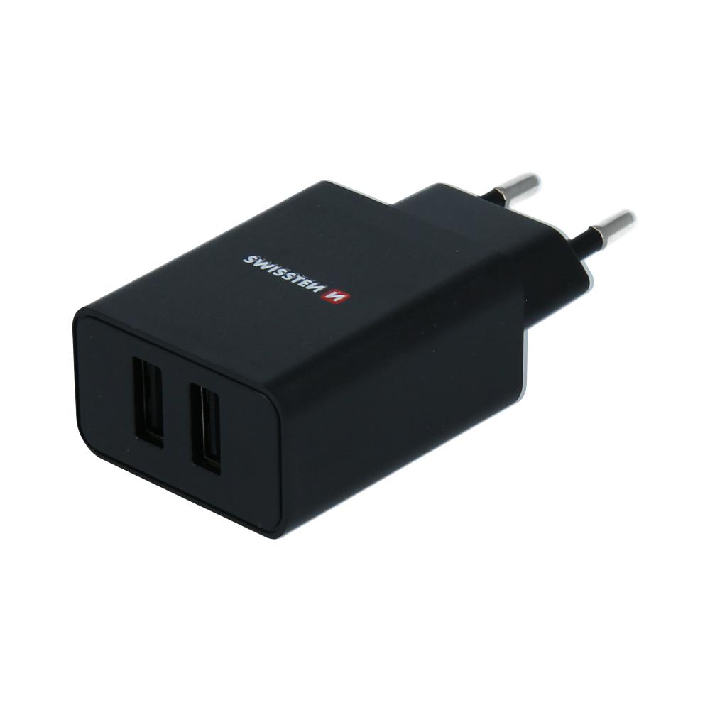 SWISSTEN SÍŤOVÝ ADAPTÉR SMART IC 2x USB 2,1A POWER ČERNÝ (ECO BALENÍ)