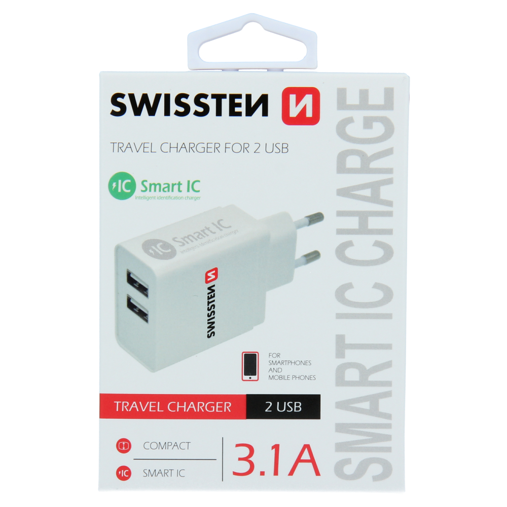 SWISSTEN SÍŤOVÝ ADAPTÉR SMART IC 2x USB 3,1A POWER BÍLÝ