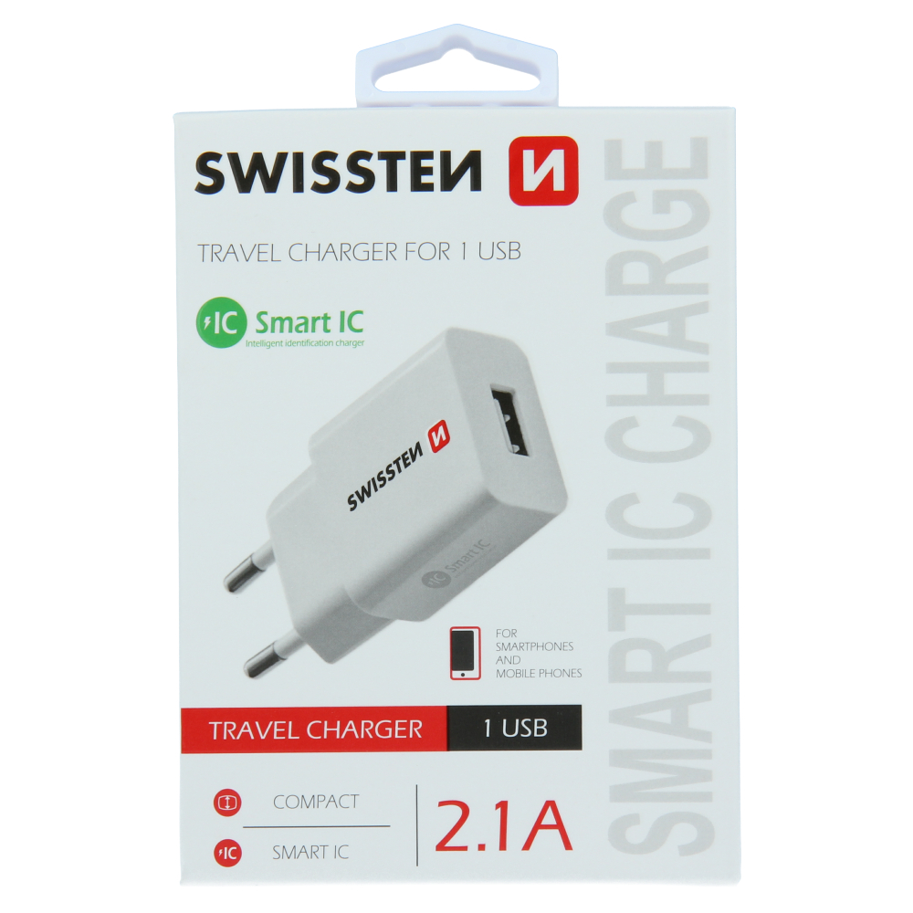 SWISSTEN SÍŤOVÝ ADAPTÉR SMART IC 1x USB 2,1A POWER BÍLÝ