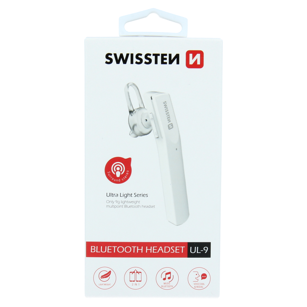 BLUETOOTH HEADSET SWISSTEN ULTRA LIGHT UL-9 BÍLÝ