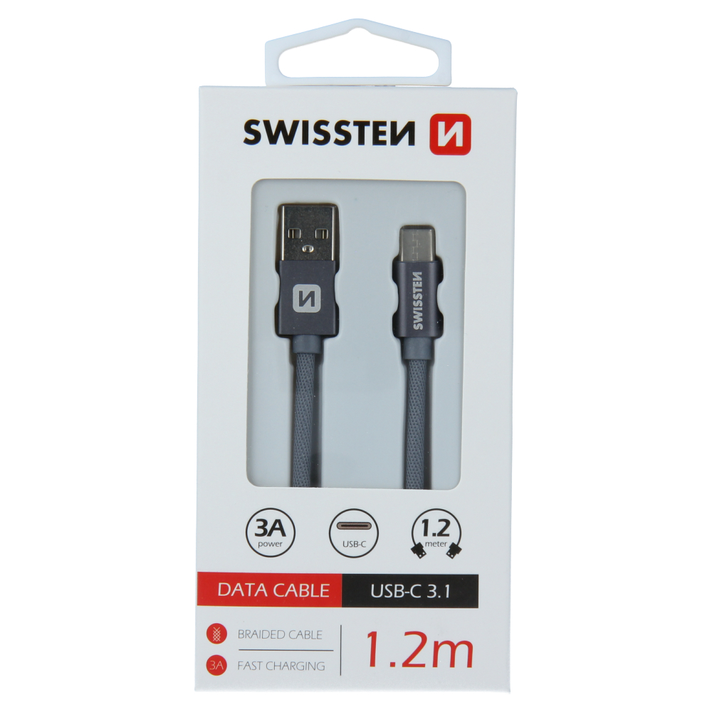 DATOVÝ KABEL SWISSTEN TEXTILE USB / USB-C 1,2 M ŠEDÝ