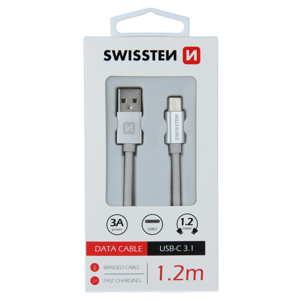 DATOVÝ KABEL SWISSTEN TEXTILE USB / USB-C 1,2 M STŘÍBRNÝ