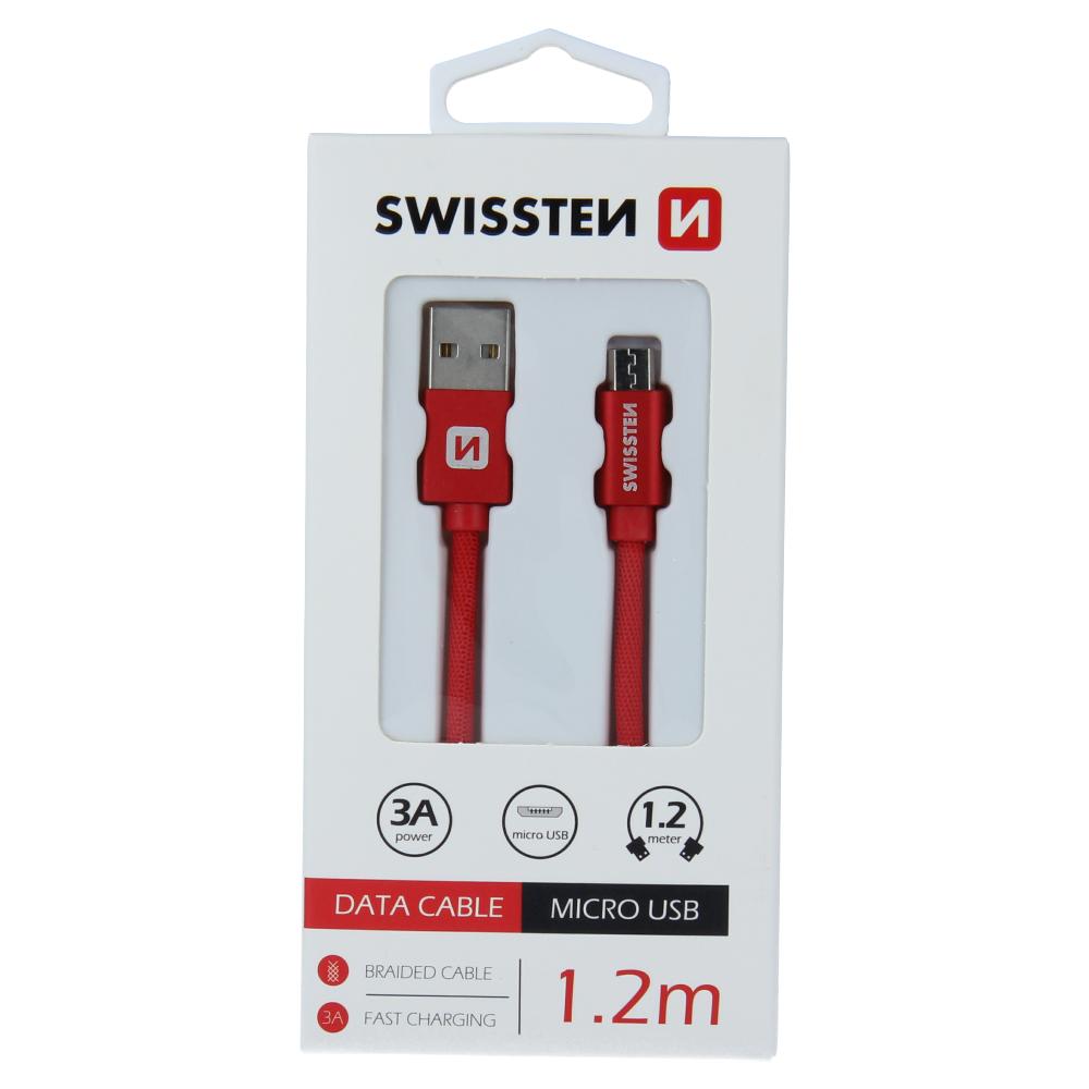 DATOVÝ KABEL SWISSTEN TEXTILE USB / MICRO USB 1,2 M ČERVENÝ