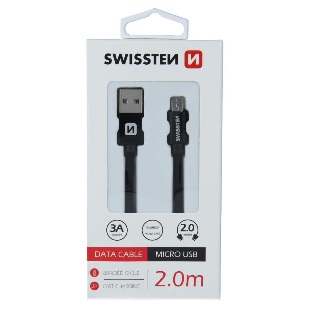DATOVÝ KABEL SWISSTEN TEXTILE USB / MICRO USB 2,0 M ČERNÝ