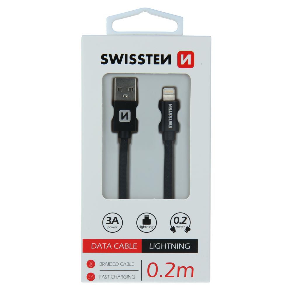DATOVÝ KABEL SWISSTEN TEXTILE USB / LIGHTNING 0,2 M ČERNÝ