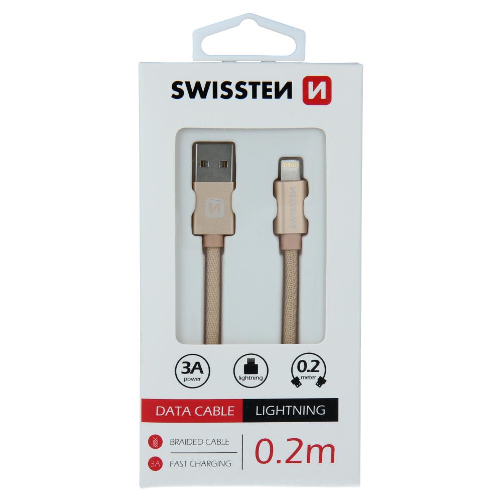 DATOVÝ KABEL SWISSTEN TEXTILE USB / LIGHTNING 0,2 M ZLATÝ