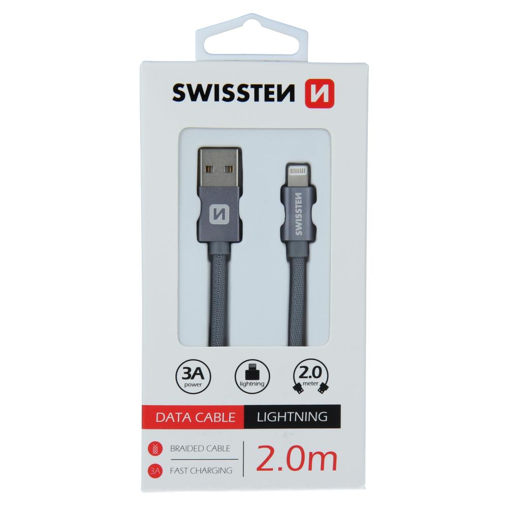 DATOVÝ KABEL SWISSTEN TEXTILE USB / LIGHTNING 2,0 M ŠEDÝ