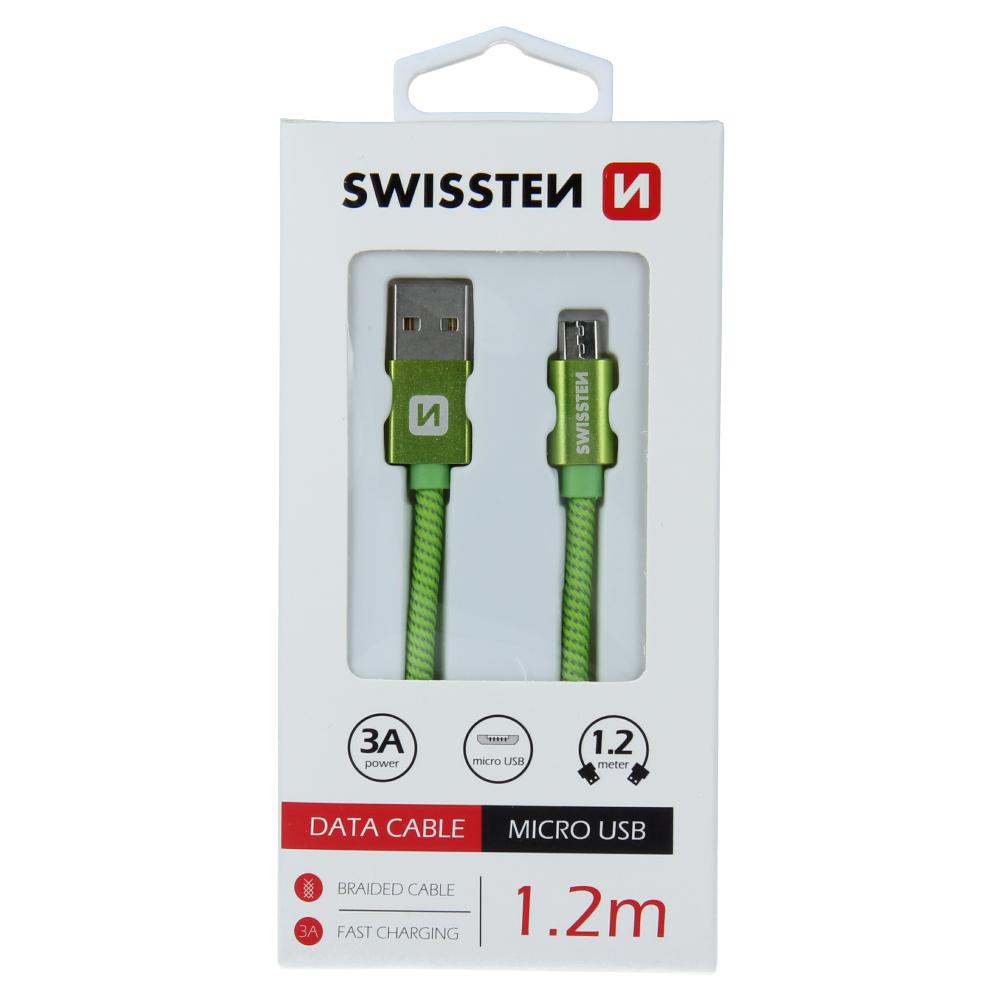 DATOVÝ KABEL SWISSTEN TEXTILE USB / MICRO USB 1,2 M ZELENÝ