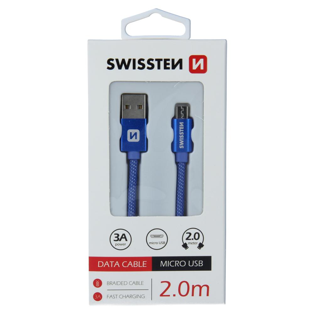 DATOVÝ KABEL SWISSTEN TEXTILE USB / MICRO USB 2,0 M MODRÝ