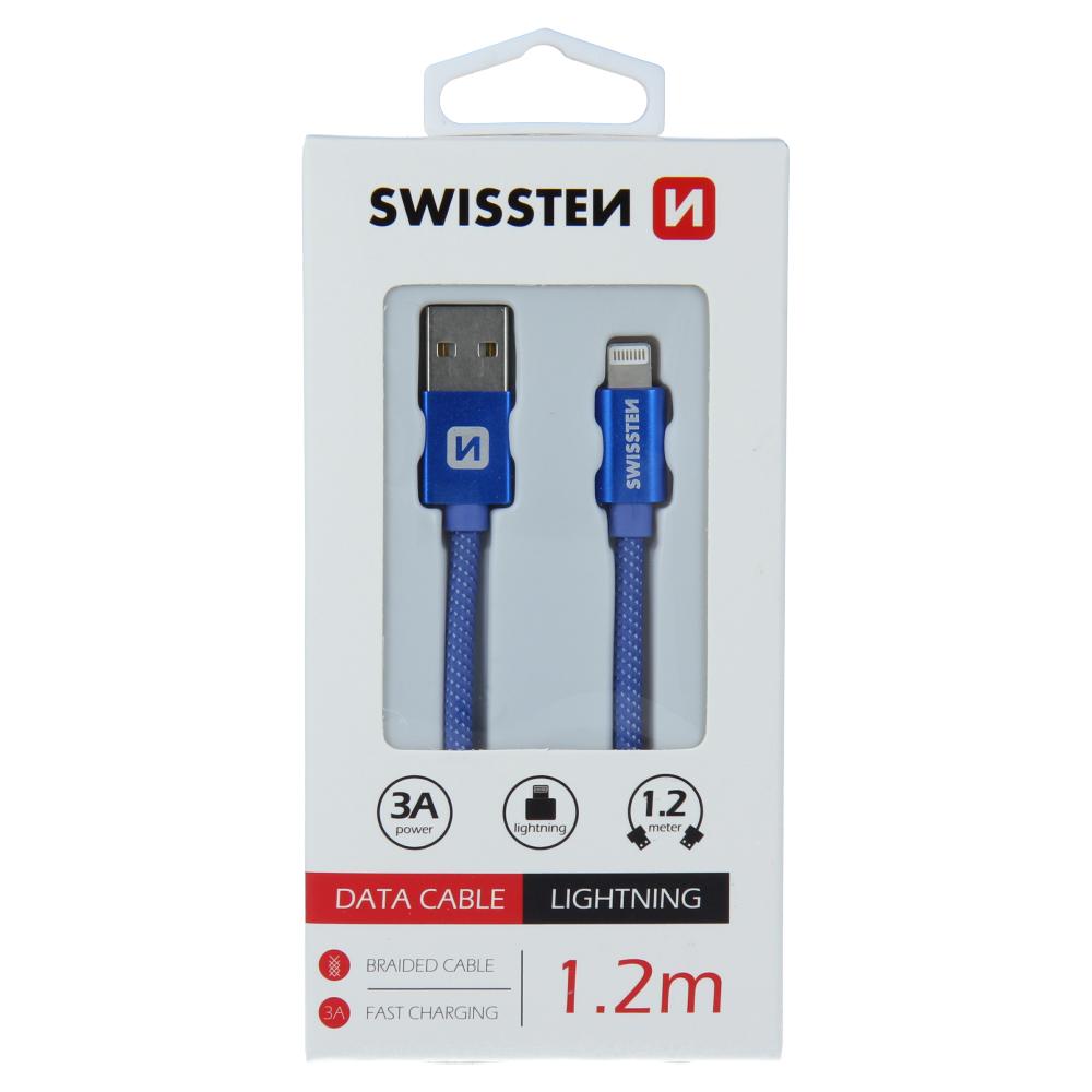 DATOVÝ KABEL SWISSTEN TEXTILE USB / LIGHTNING 1,2 M MODRÝ