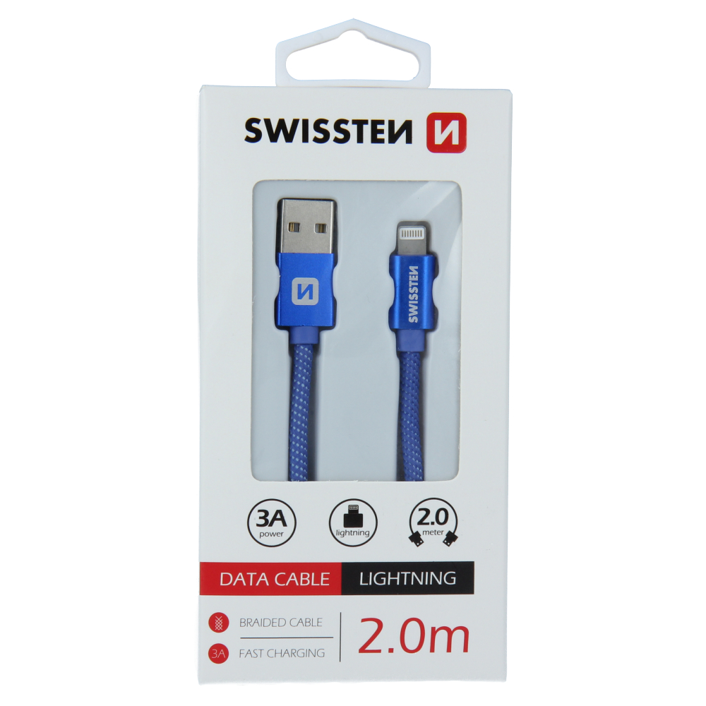 DATOVÝ KABEL SWISSTEN TEXTILE USB / LIGHTNING 2,0 M MODRÝ