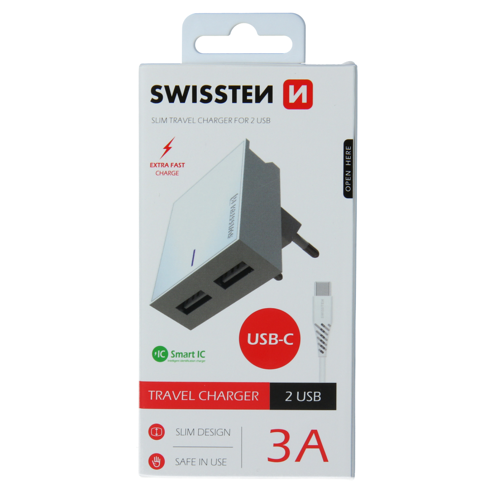 SWISSTEN SÍŤOVÝ ADAPTÉR SMART IC 2x USB 3A POWER + DATOVÝ KABEL USB / TYPE C 1,2 M BÍLÝ
