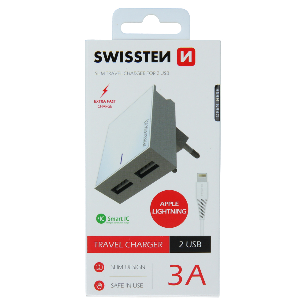 SWISSTEN SÍŤOVÝ ADAPTÉR SMART IC 2x USB 3A POWER + DATOVÝ KABEL USB / LIGHTNING 1,2 M BÍLÝ