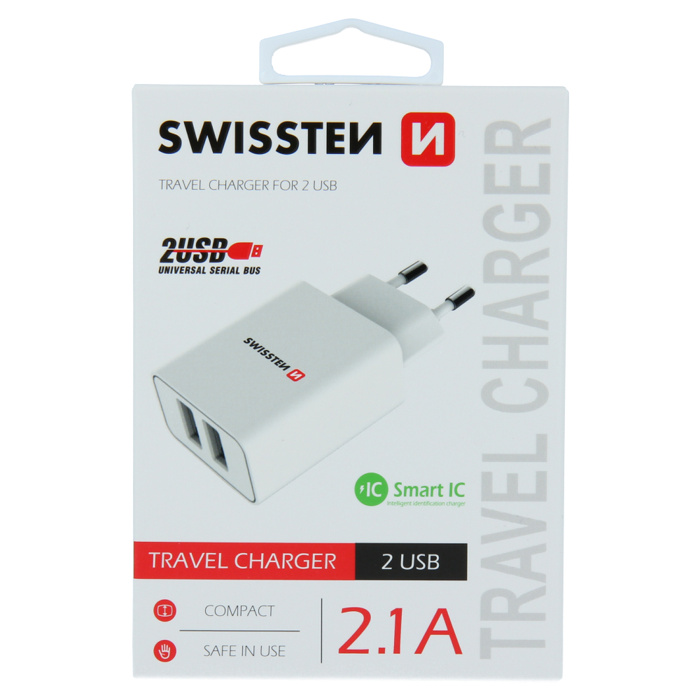 SWISSTEN SÍŤOVÝ ADAPTÉR SMART IC 2x USB 2,1A POWER BÍLÝ