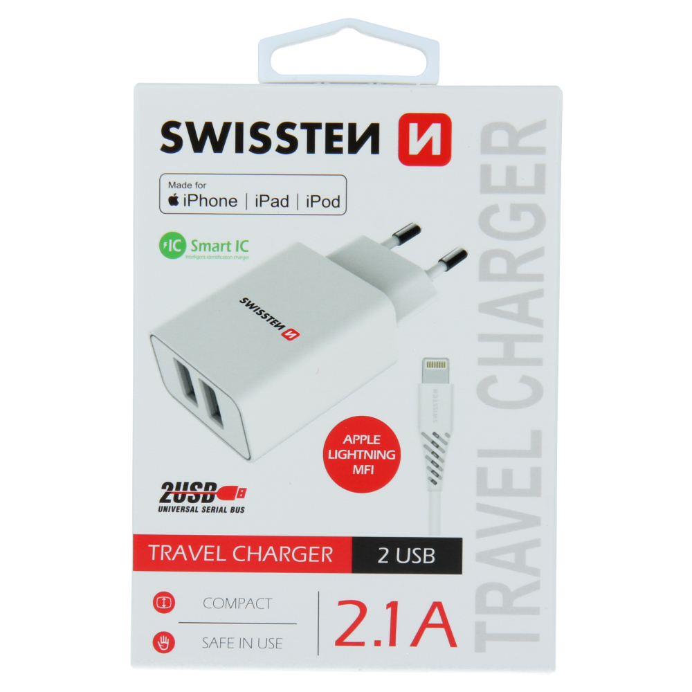 SWISSTEN SÍŤOVÝ ADAPTÉR SMART IC 2x USB 2,1A POWER + DATOVÝ KABEL USB / LIGHTNING MFi 1,2 M BÍLÝ
