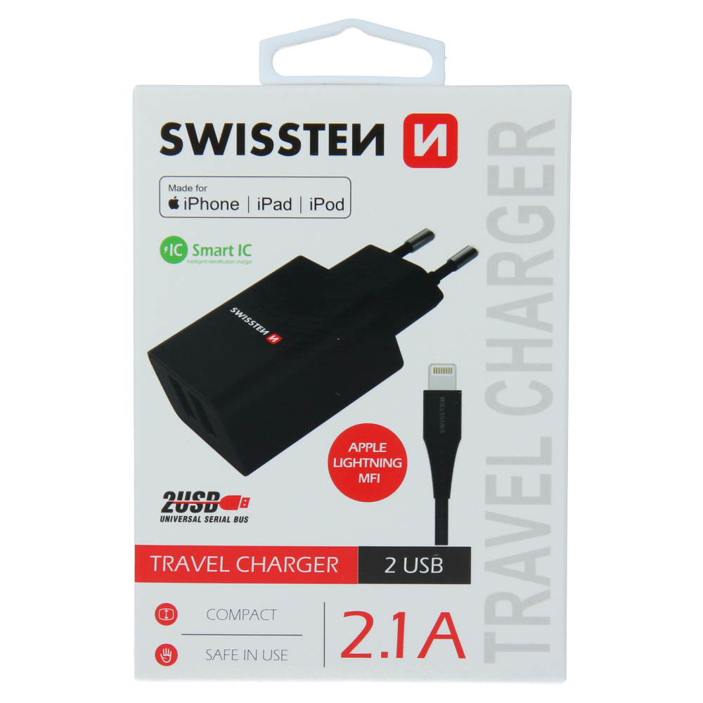 SWISSTEN SÍŤOVÝ ADAPTÉR SMART IC 2x USB 2,1A POWER + DATOVÝ KABEL USB / LIGHTNING MFi 1,2 M ČERNÝ