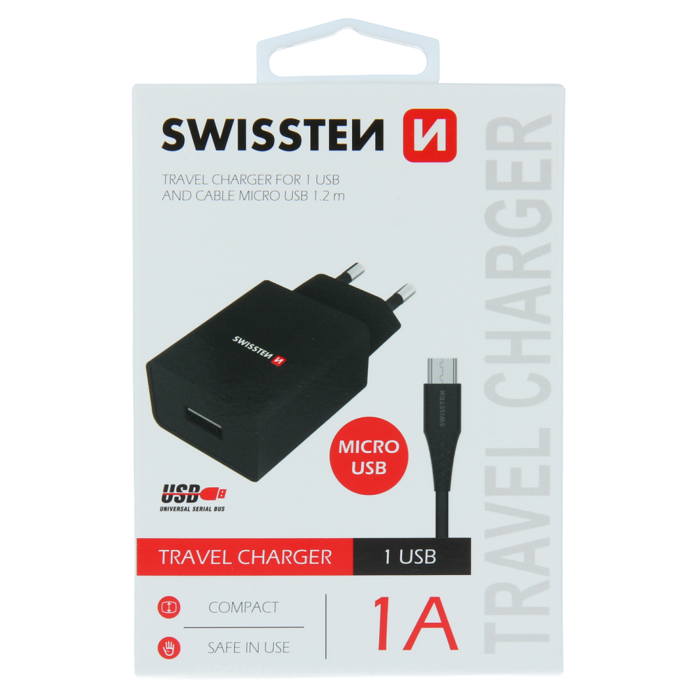 SWISSTEN SÍŤOVÝ ADAPTÉR SMART IC 1x USB 1A POWER + DATOVÝ KABEL USB / MICRO USB 1,2 M ČERNÝ
