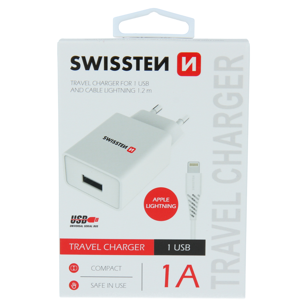 SWISSTEN SÍŤOVÝ ADAPTÉR SMART IC 1x USB 1A POWER + DATOVÝ KABEL USB / LIGHTNING 1,2 M BÍLÝ