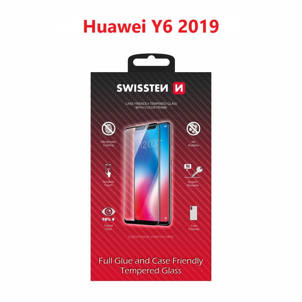 SKLO SWISSTEN FULL GLUE, COLOR FRAME, CASE FRIENDLY  HUAWEI Y6 2019 ČERNÉ