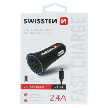 SWISSTEN CL ADAPTÉR 2,4A POWER 2x USB + KABEL MICRO USB
