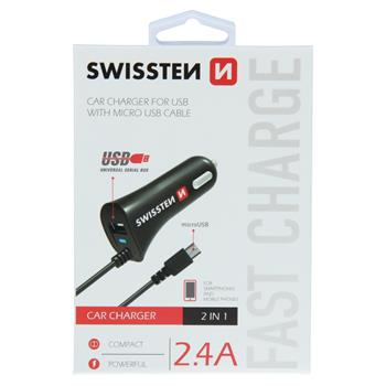 SWISSTEN CL AUTONABÍJEČKA MICRO USB A USB 2,4A POWER