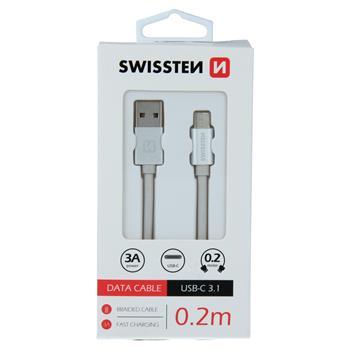 DATOVÝ KABEL SWISSTEN TEXTILE USB / USB-C 0,2 M STŘÍBRNÝ