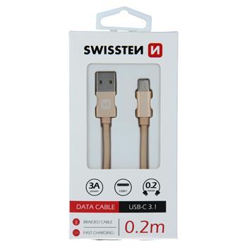 DATOVÝ KABEL SWISSTEN TEXTILE USB / USB-C 0,2 M ZLATÝ