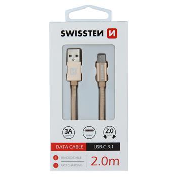 DATOVÝ KABEL SWISSTEN TEXTILE USB / USB-C 2,0 M ZLATÝ