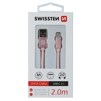 DATOVÝ KABEL SWISSTEN TEXTILE USB / USB-C 2,0 M RŮŽOVO/ZLATÝ